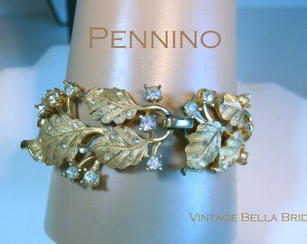 Pennino Designer Bracelet Gold Wash Silver Highlights Clear Rhinestones 1960s