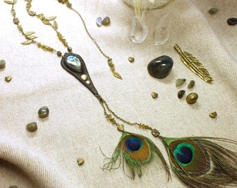 Eye of Peacock - long neckless with Labradorite gemstone and peacock feathers.