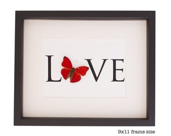 Real Framed Butterfly Print Word Love