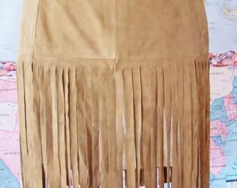 Suede fringe skirt, Fringe Leather skirt, tan suede skirt, Pocahontas skirt, size XL