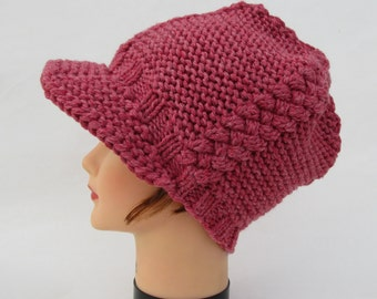 Newsboy Hat - SALE 20% OFF - Cable Knit Cap In Cranberry Heather - Women's Beanie With Brim - Visor Hat - Knit Accessories