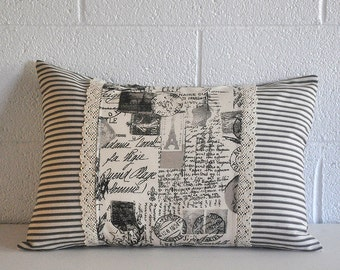French Stamps and Script in Black and Lumbar Pillow Cover