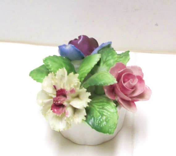Royal Adderley Floral Bouquet Vintage English Bone China Spring Flowers Carnation Rose Collectible Figurine