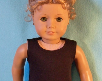 18 inch Doll Black Scoop-Neck Tank Top Tee Shirt