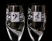 2 Musical Wedding Champagne Glasses, Music Lovers Toasting Flutes for Quinceanera