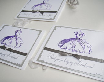 Thank you for being my Bridesmaid- Handmade Card- Vintage Inspired Embossed dress- FLAT BACKING color- Ribbon and bow