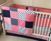 Crib Bedding Coral and Navy Anchors Ready to Ship Today Last One