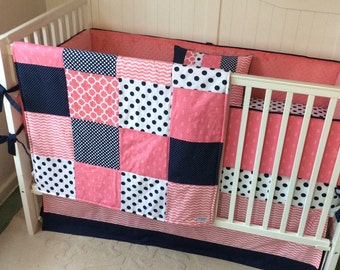 SALE Crib Bedding Coral and Navy Anchors Ready to Ship Today Last One