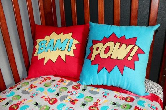 Superhero Pillow - POW! BAM! - comic book style word pillows