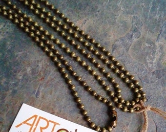 26 INCH BALL CHAIN Necklace in Antique Brass, 2mm ball, ready to wear, Pendant Holder