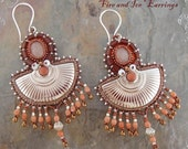 Fire and Ice Bead Embroidery Bead Work Earrings Brick Red and White