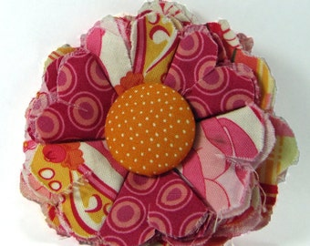 Fabric Flower Pin, Fabric Flower Brooch, raw edge flower, pink, orange - FP04