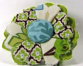 Fabric Flower Pin, Fabric Flower Brooch, raw edge flower, turquise, green, brown - FP12