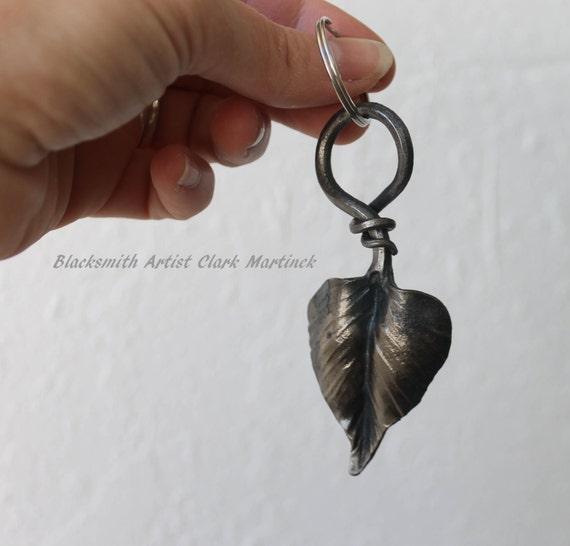 Leaf Key chain, key chain, Unique key chain, iron anniversary, steel anniversary, 6th anniversary gift, leaf charm jewelry