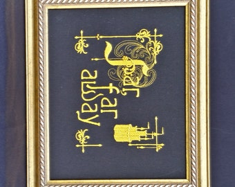 "Wall Art, picture, Princess, Story, ""Far Far Away"", Embroidered  READY TO SHIP(black)"