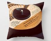 Record Pillow Case - Valentines Day - Love Decor - Black and Orange Decor - Endless Love - Music Decor - Record Decor - Indoor Pillow