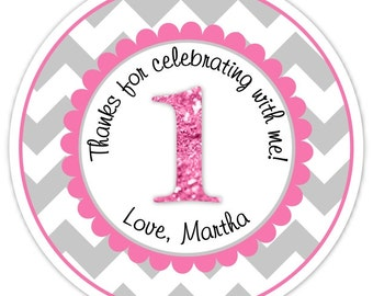 Custom 1st Birthday Labels, 1st Birthday Stickers -  Chevron and Pink Glitter First Birthday, Personalized for you, You choose colors