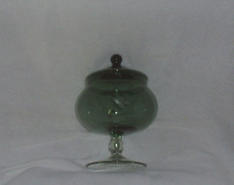 Vintage Green Covered Candy Dish