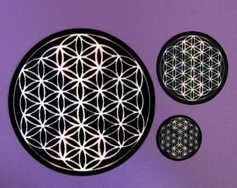 """Flower of Life Blk & Cosmic White, Altar Cloth, Crystal Grid Cloth """"Charger"""" Set of 3 Flower of Life"""