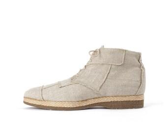 VTG Linen Patchwork Ankle Boots 9.5