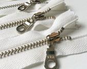YKK Organic Cotton Tape Silver (Nickel) Donut Pull Metal Zipper 12 Inch White (5) Pieces Eco Friendly