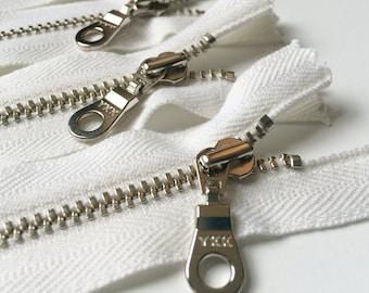 YKK Organic Cotton Tape Silver (Nickel) Donut Pull Metal Zipper 7 Inch White (5) Pieces Eco Friendly