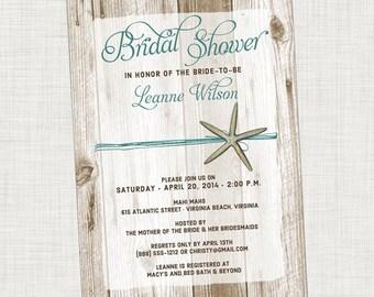 Bridal Shower Invitation Starfish Beach Printable, Digital File