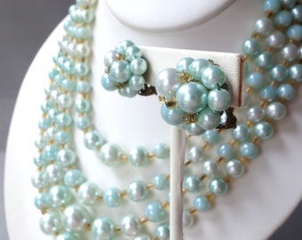 Vintage ice blue faux pearl multi strand necklace and earring set, demi parure