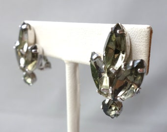 Vintage Weiss silver tone clip on earrings with smoky rhinestones