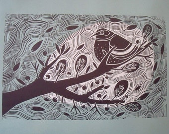 Reaching Out limited edition lino cut by Liz Toole