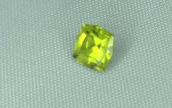 Hand Cut Peridot Calibrated Square Step Emerald Cut Gemstone 5.1mm .75 Carat VVS Destash