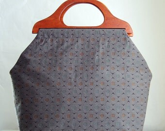 Stack Slate Large Craft Project Tote/ Knitting Tote Bag - READY TO SHIP