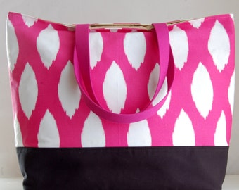 Chipper Fuchsia XL Extra Large Beach Bag / BIG Tote Bag - Ready to Ship
