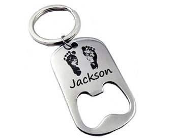 Custom Bottle Opener with your Baby's Actual Footprints (#2234)