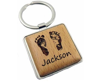 Custom Baby Footprint Key Chain with your baby's actual footprints (square, #2252)