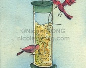 Original ACEO Painting -- The Bird Feeder