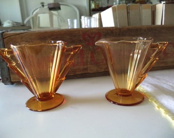 Vintage Amber Glass Creamer and Sugar Set