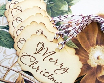 Christmas Gift Tags Vintage Style Treat Bag Tags Party Favors TC042