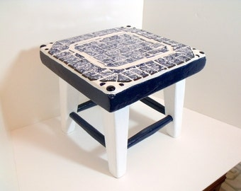 Mosaic stool or Step  Blue and White