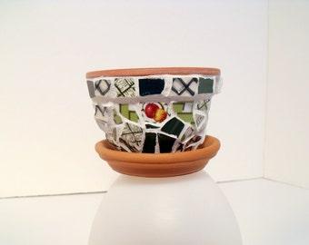 Mosaic Tiny  Flower Pot  Green