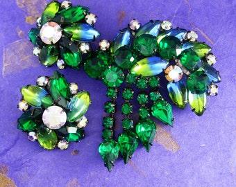 Statement demi Parure BRooch earrings Long tassels Givre  RHINESTONE long navettes japaned black green aurora borealis
