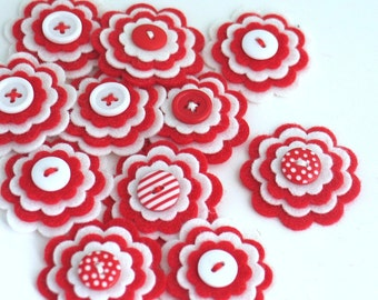CANDY CANE Felt Flower Embellishments, Christmas Felt Flowers, Valentine Flowers, Flower Applique, Red and White Flowers - Set of 3