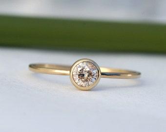 White Diamond Stacking Ring in Yellow Gold
