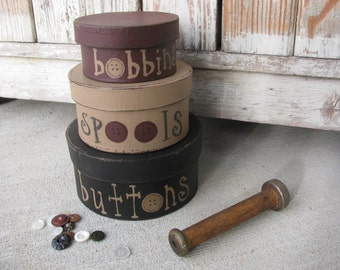 Primitive Sewing Notions Buttons and Spools Stacking Boxes Set of 3 GCC3958
