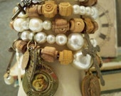 Rosary necklace beads recycle into wrap bracelet - Vintage items - One of a Kind - bycat
