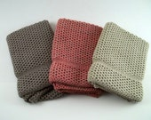 Dishcloths/Washcloths Knit in Cotton in Putty, Taupe and Bittersweet, Dishcloth, Washcloth