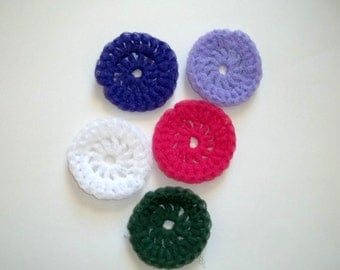 Nylon Net Scrubbies in Purple Lilac Pink Green and White
