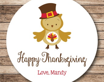 Happy Thanksgiving Owl Personalized Stickers, Labels or Tags