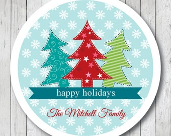 Christmas Trees in Snow . Personalized Christmas Stickers, Labels or Tags
