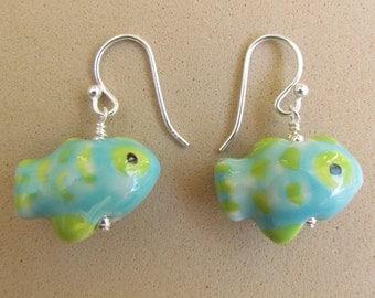 Ceramic Beaded Fish Earrings, handmade by Harleypaws, SRAJD